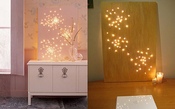 Twinkling art installation for the bedroom
