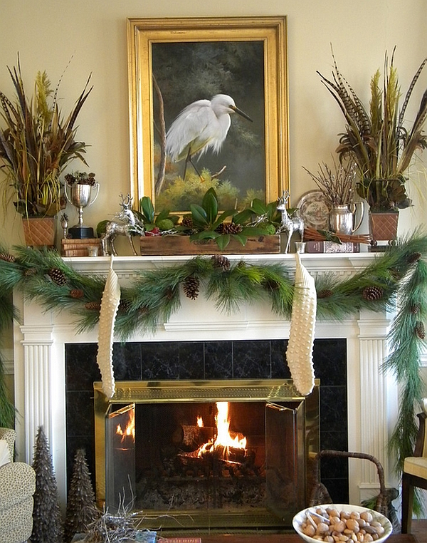 Unique woodland mantel for Christmas