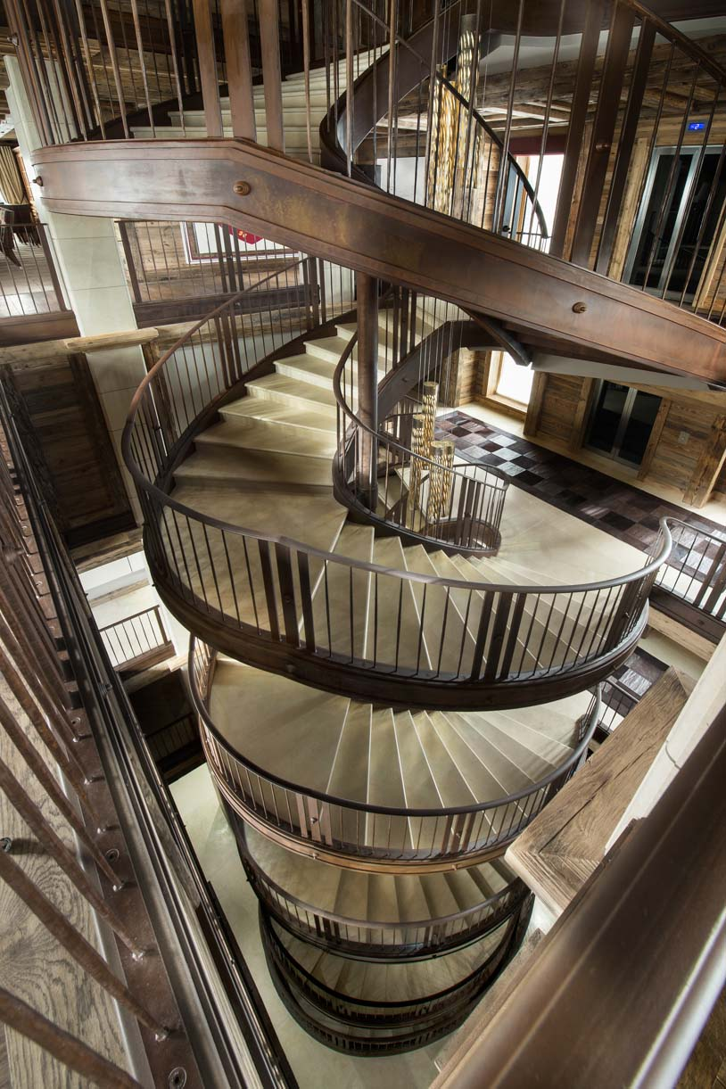 View of the spectacular sweeping spiral staircase