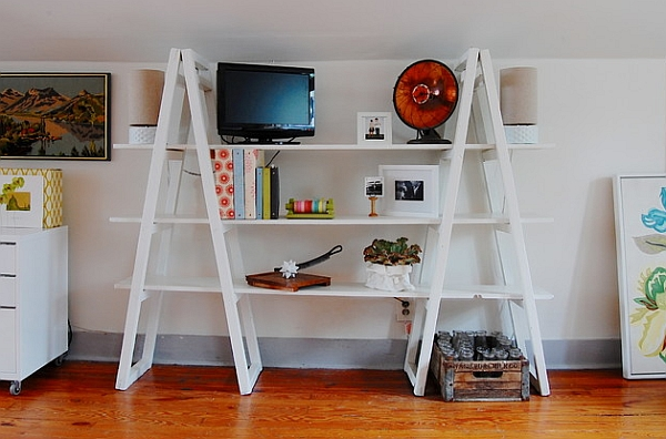 Vintage ladder bookshelf unit in white