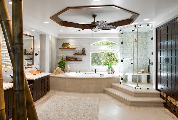 Vivacious Oriental theme in the Master Bath