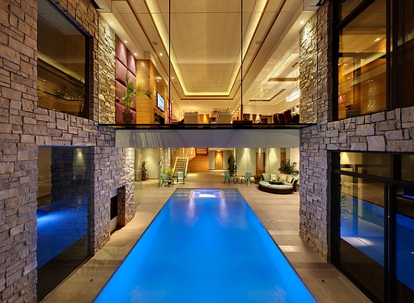 view in gallery walkway above the pool creates a cool visual - Cool Indoor Swimming Pools