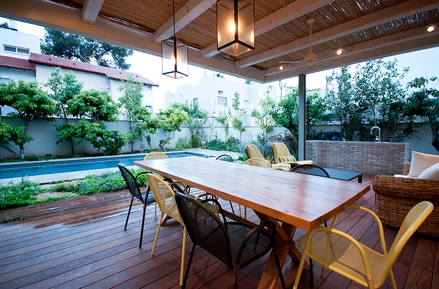 Waooden deck space with outdoor dining table