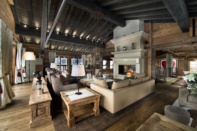 Warm fireplace at the heart of the stunning chalet