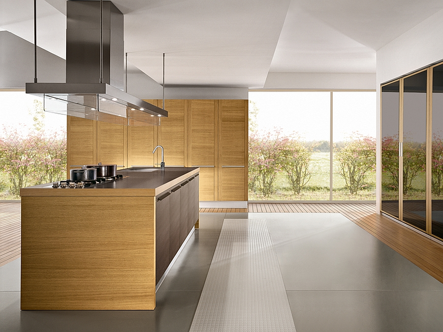 Warm wooden tones for the kitchen shelves