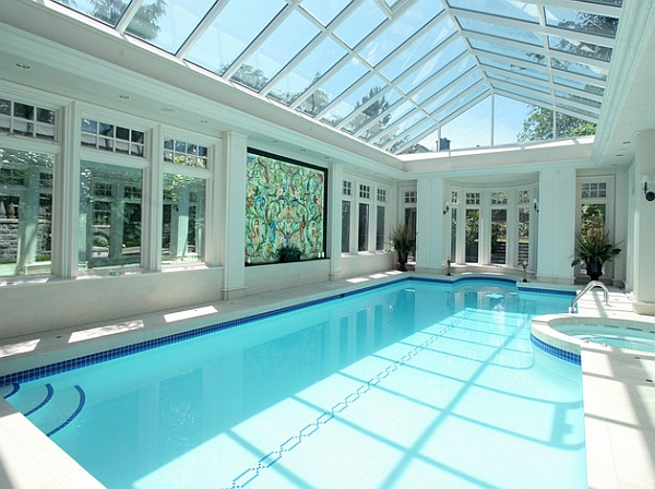 50 indoor swimming pool ideas taking a dip in style for Small indoor pool ideas