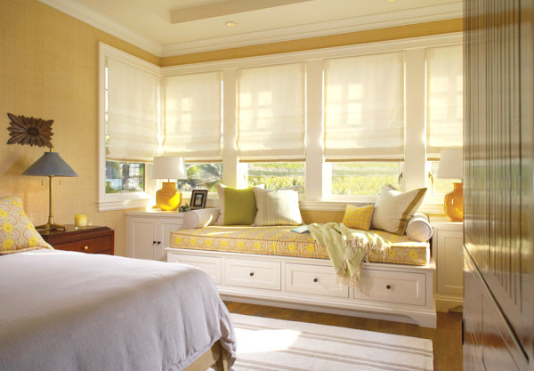 Window seat with patterned cushions Window Seat Ideas for a Comfy Interior