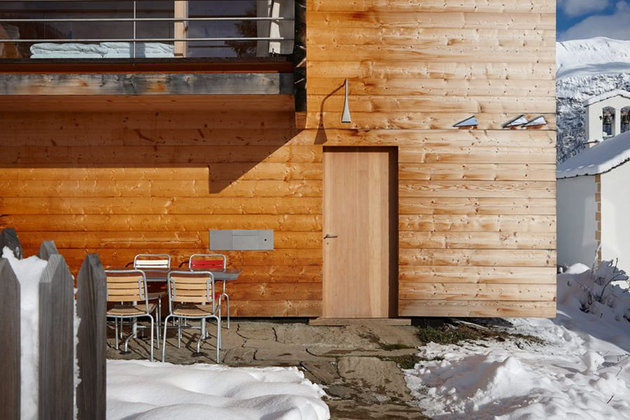 Wodden exterior of the lovely swiss alp skiing retreats