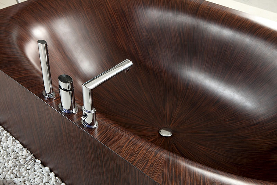 Wooden bathrubs with intricate details