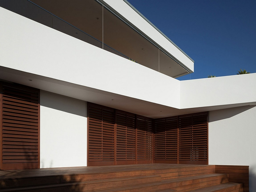 Wooden deck outside modern home