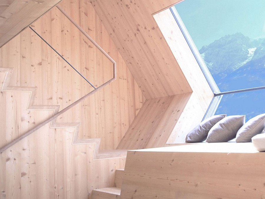 Wooden interior of the Austrian mountain cabin