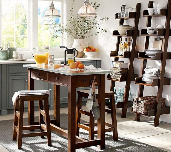 Wooden ladder shelves in the modern kitchen
