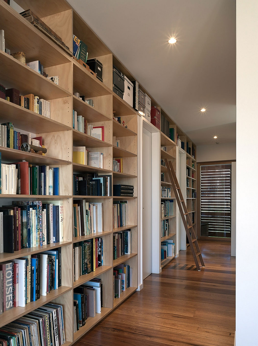 Wooden shelves for elegant home library