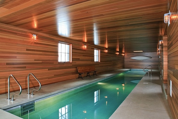 Wooden walls bring warmth to the contemporary space