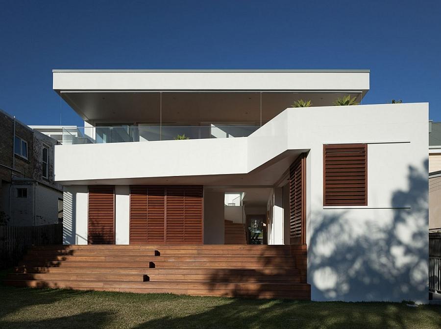 Wooden windows add visual contrast