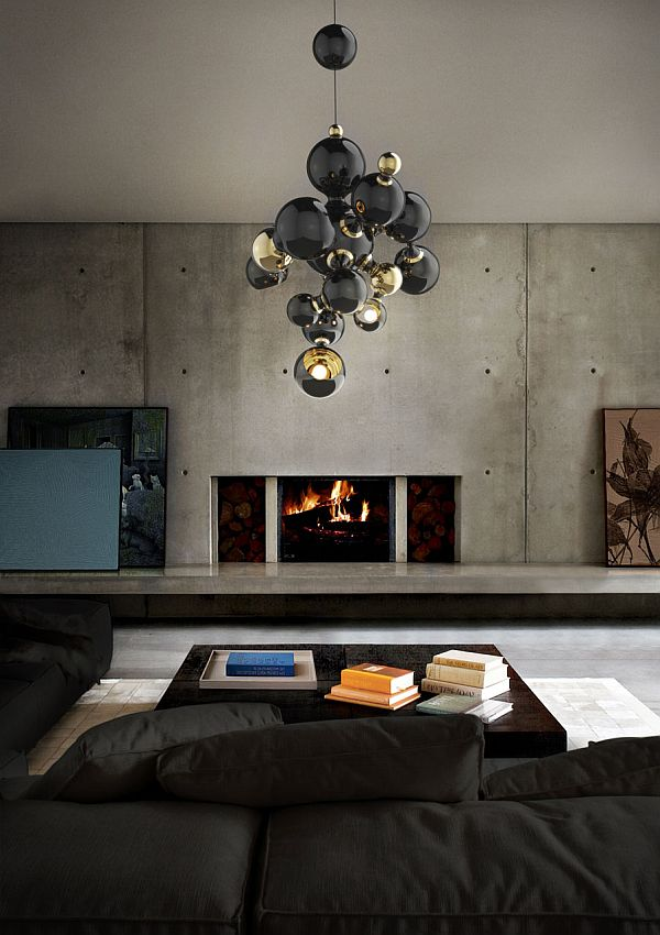 atomic suspended chandelier - living room