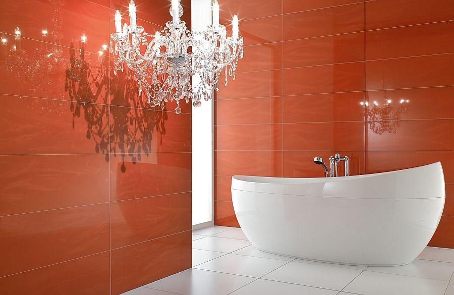 beautiful white bathtub in a red bathroom