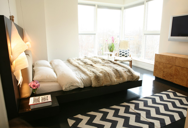 bedroom chevron rug idea