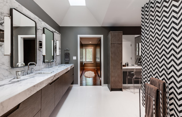 black and white chevron wall - bathroom