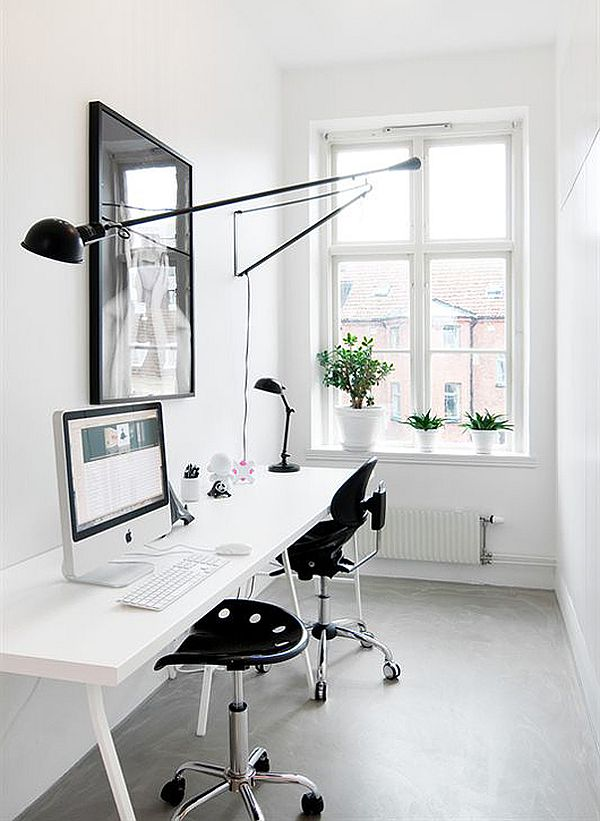 black and white home office design