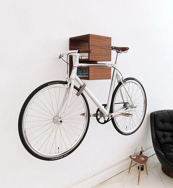 bookcase wall bike rack