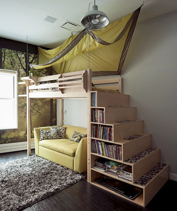 bookshelf under the kids staircase