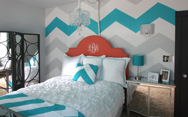 chevron template for walls - painted blue white and grey chevron wall decoist