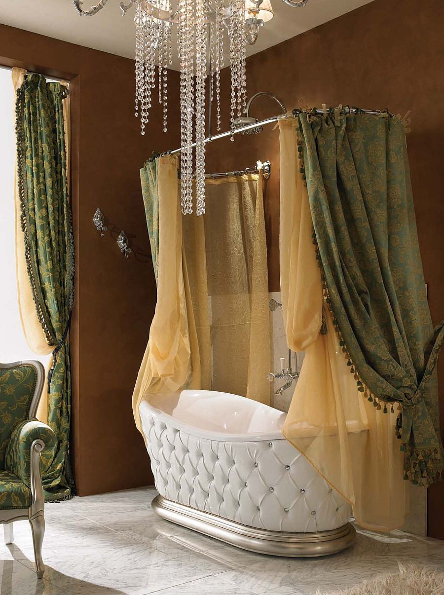 chic and elegant bathtub with fine italian leather