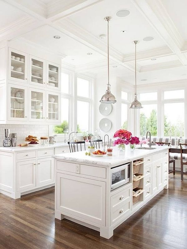 chic kitchen with a monochromatic white theme