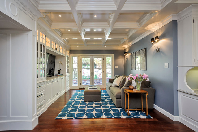 colorful blue and white modern rug