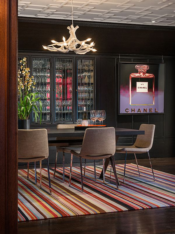 colorful contemporary rug under dining table