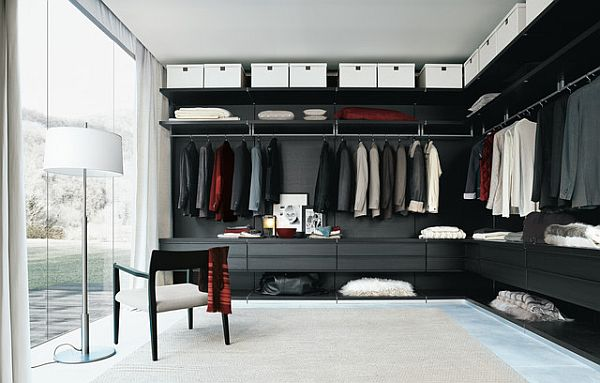 contemporary walk-in closet - men suits