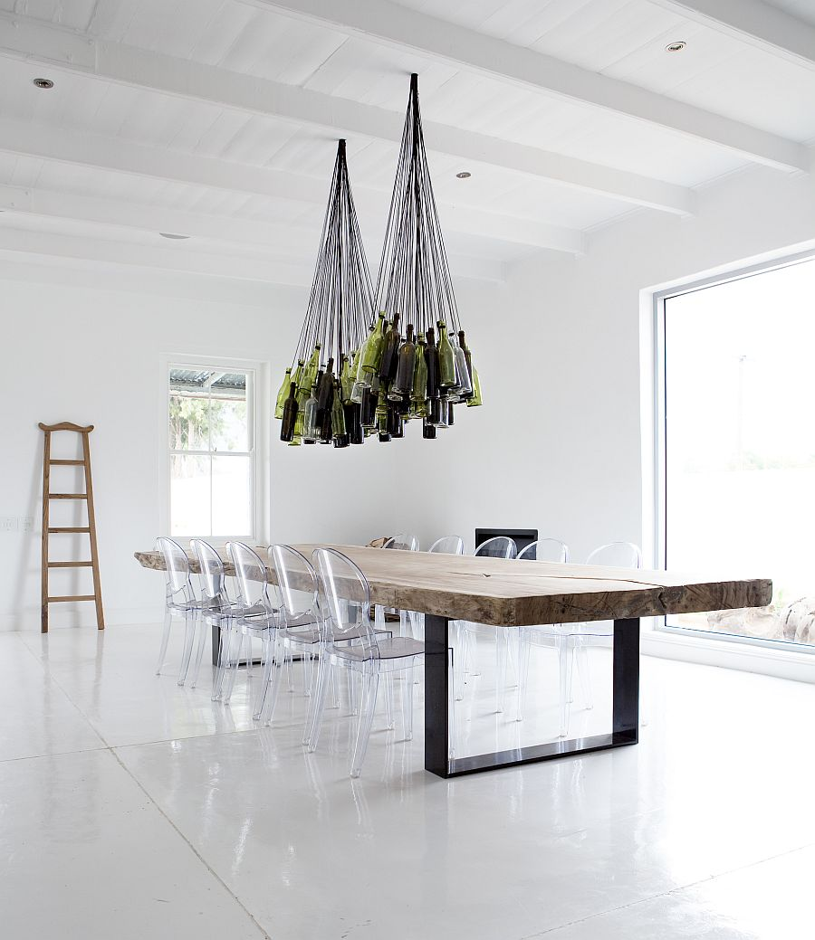 diy wine bottles chandelier