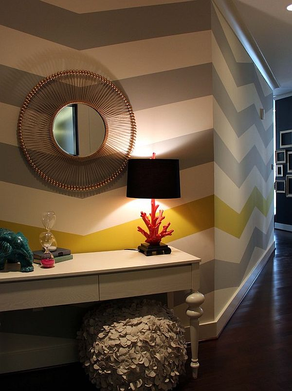 eclectic entryway design with chevron stripes wall