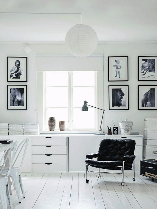 fancy black and white monochromatic office design