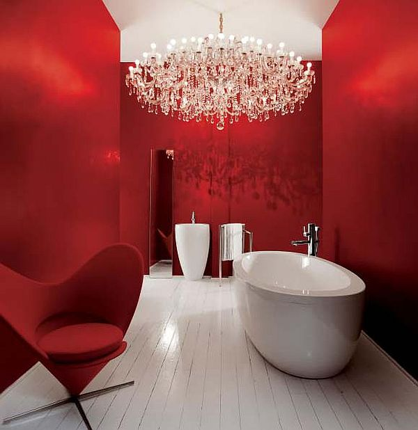 fancy red bath with chandelier