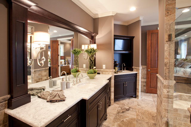 fancy traditional his and hers bathroom