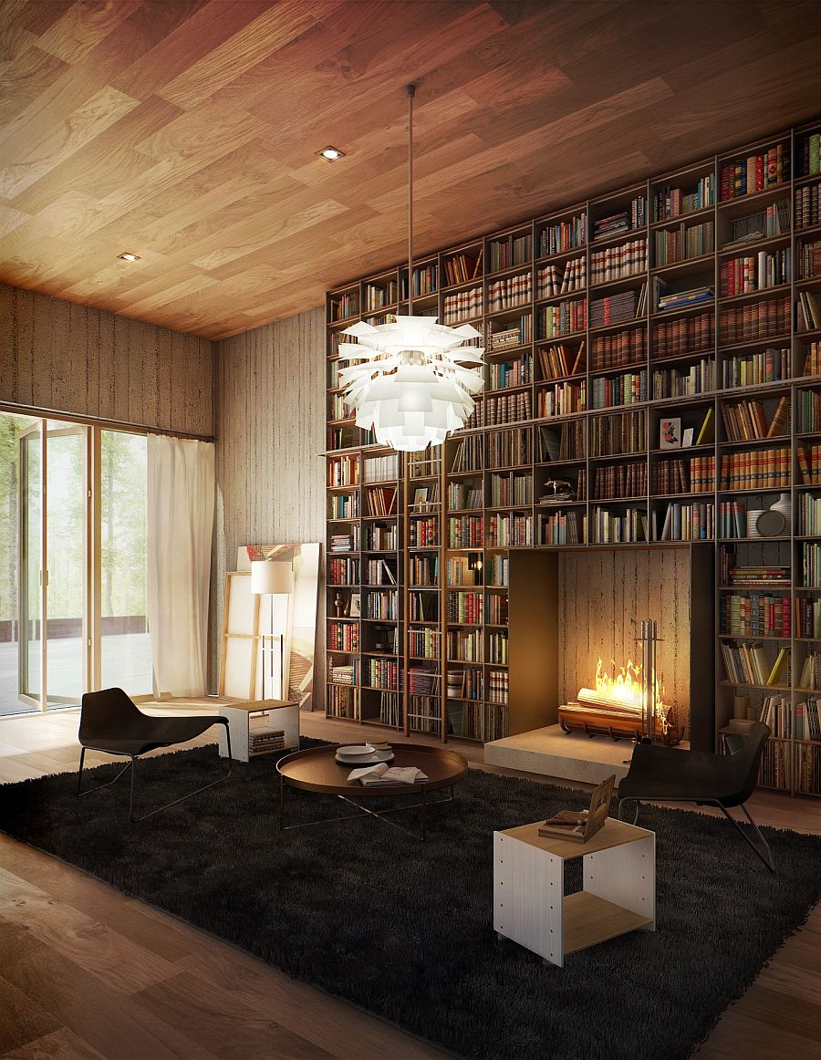 fireplace in the library Smart Bookshelf Ideas That Give You More Interior Space