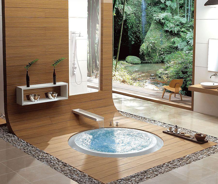 floor encased bathtub with bamboo