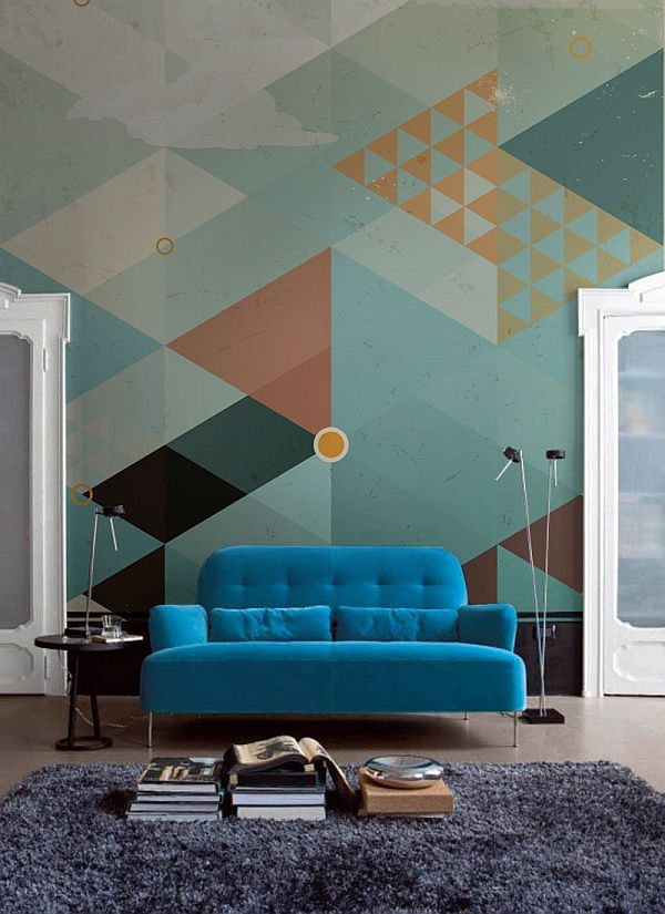 geometric turquoise wall mural