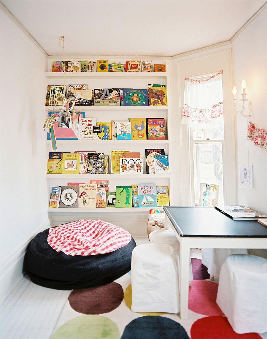 Space saving book shelves and reading rooms for Shelving for kids room
