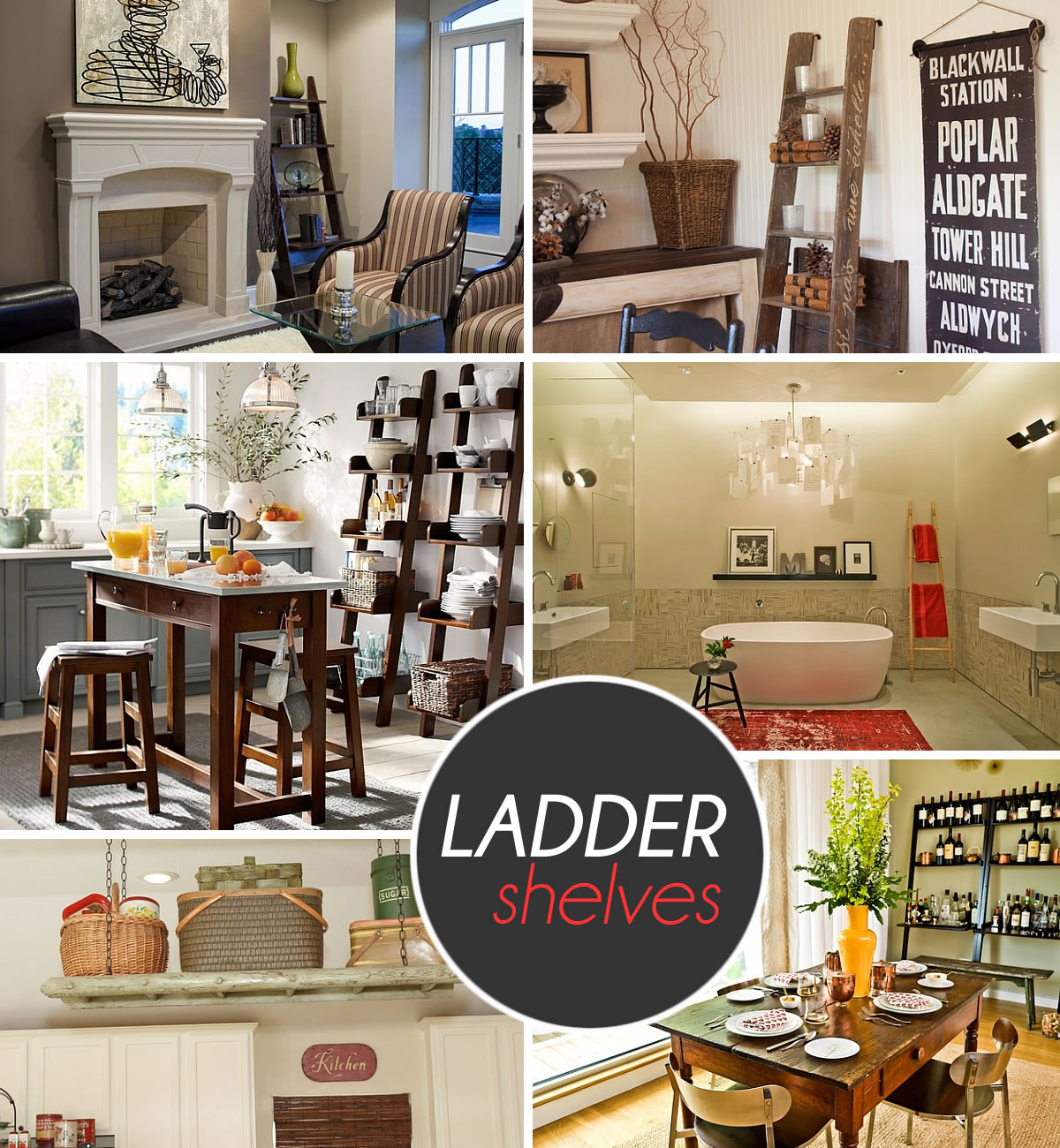 ladder shelves Stepping It Up In Style: 50 Ladder Shelves And Display Ideas