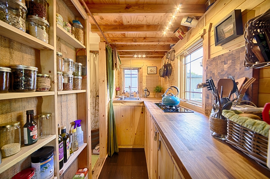 Back to mobile tiny tack house is entirely built by hand for Narrow kitchen plans