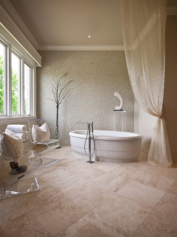 soothing bathroom decor with monochromatic scheme
