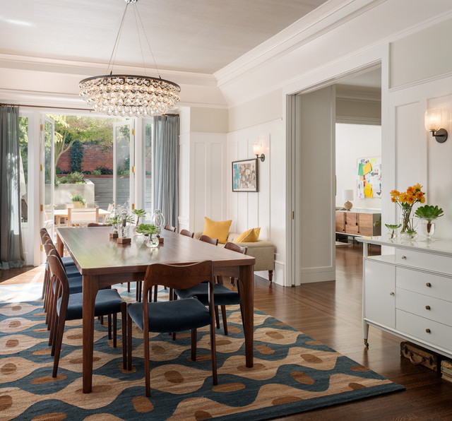 traditional dining room with cool rug decoist
