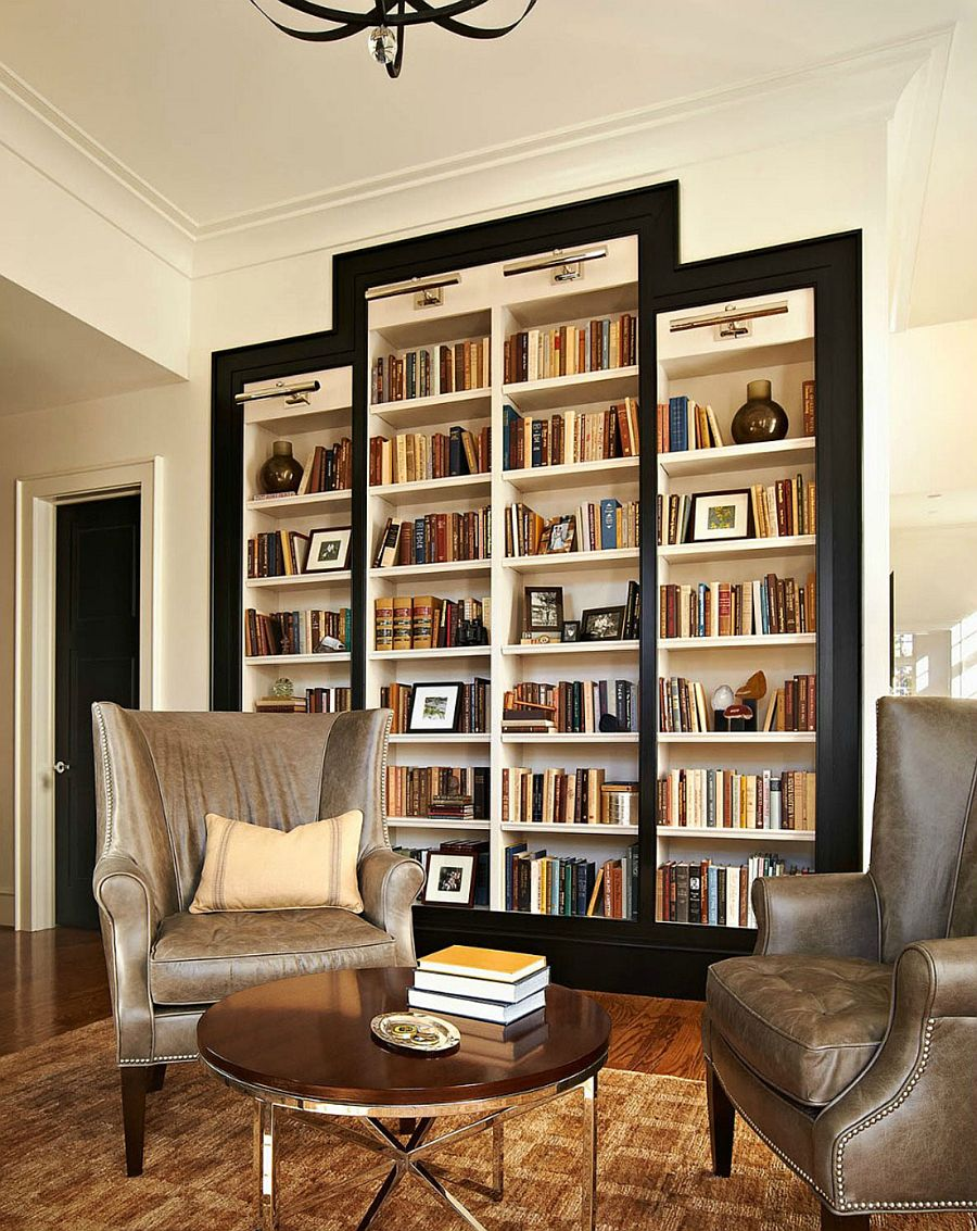 traditional reading room with big bookcase