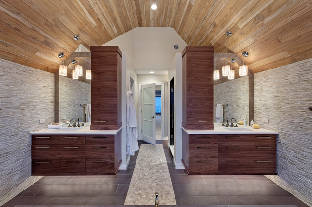 ultra contemporary bathroom for him and her