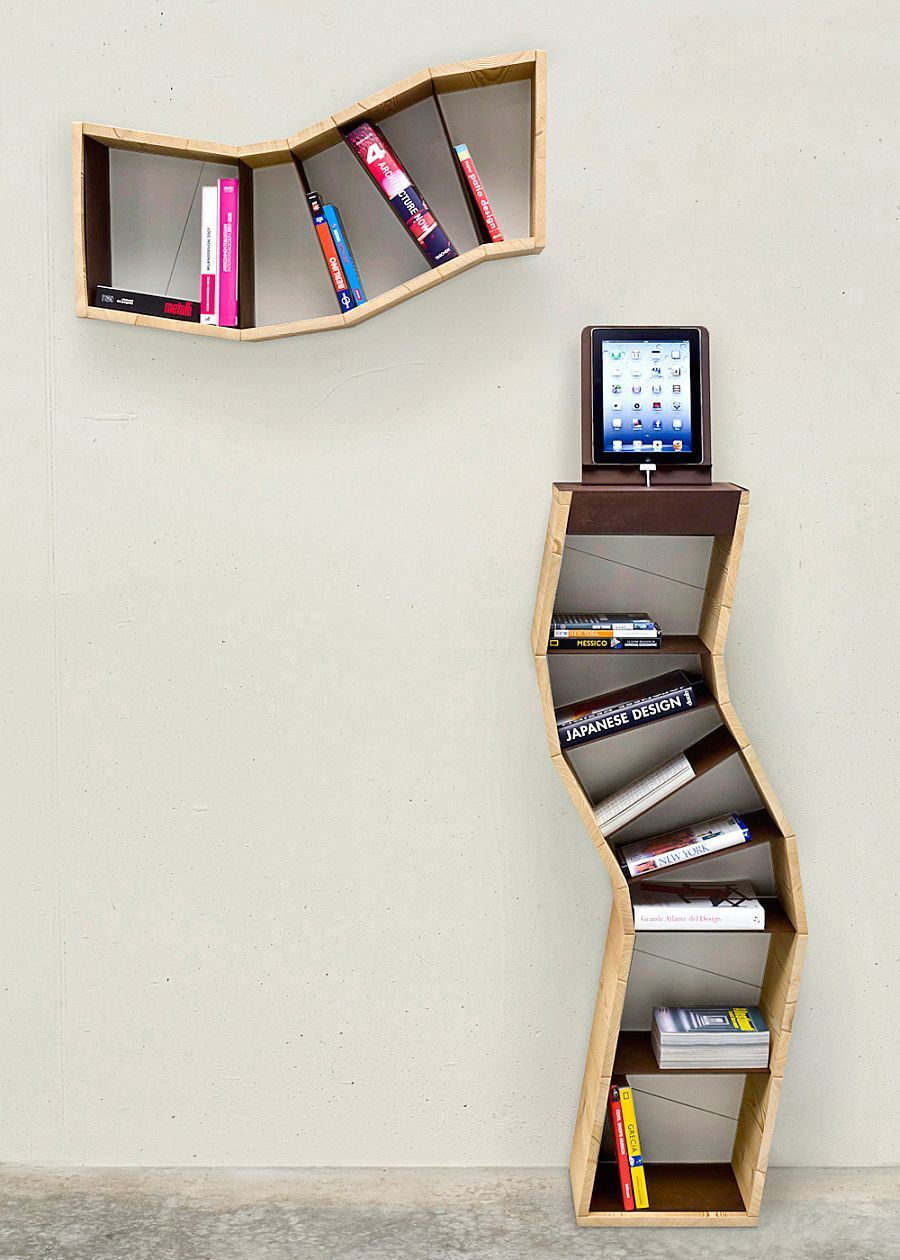 Space saving book shelves and reading rooms Cool wood shelf ideas