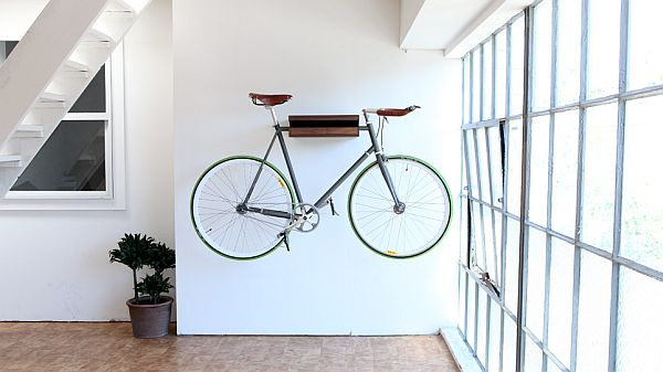 wall bicycle rack art