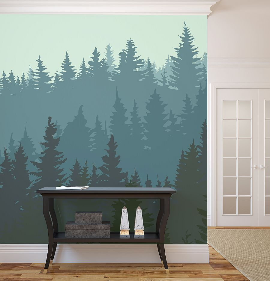 10 breathtaking wall murals for winter time for Contemporary wall mural